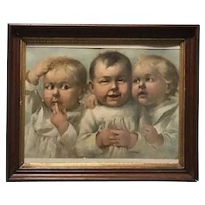 "Wilson & McCallay Tobacco Co. Framed Chromolithograph Titled, ""Two's Company, Three's A Crowd."" signed Henry RARE"