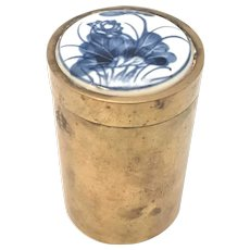 19th Century Chinese Brass & Porcelain Tobacco Jar or Tea Caddy FREE SHIPPING!