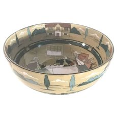 Buffalo Pottery Deldare Bowl Ye Village Tavern artist signed N. Sheehan c. 1908 FREE SHIPPING!!