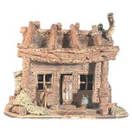 Folk Art Pottery Cabin Artist Signed FREE SHIPPING!
