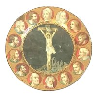 Antique Tin Litho Plate Christ's Crucifixion with Mary & Joseph plus 12 Disciples FREE SHIPPING!