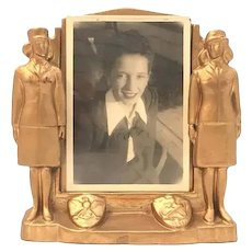 Art Deco Chalkware Navy Military Women WWII Picture Frame plus Black & White Picture c. 1940s