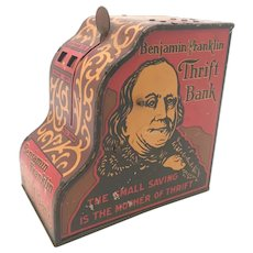 Louis Marx & Co. Benjamin Franklin Tin Litho Toy Thrift Bank c. 1930s