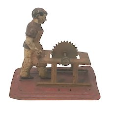 German Steam Engine Occupational Accessory Tin Litho Toy Man at Saw c. 1925