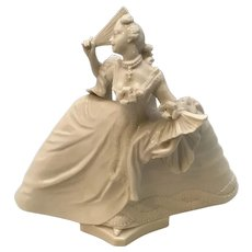 18th C. Nymphenburg Blanc de Chine Porcelain Figurine Lady in Gown with Fan FREE SHIPPING!