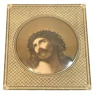 Art Deco Bubble Glass Framed Jesus Christ Crown of Thorns Lithograph