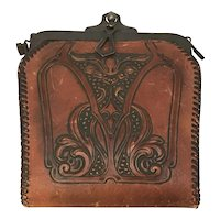 Arts and Crafts Meeker Made Tooled Leather Purse & Accessories c. 1921