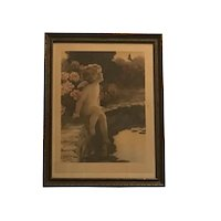 "Original Bessie Pease Gutmann ""The Butterfly"" #632 Lithograph Under Glass in Period Frame c. 1912-1922 FREE SHIPPING!"