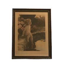 """Original Bessie Pease Gutmann """"The Butterfly"""" #632 Lithograph Under Glass in Period Frame c. 1912-1922 FREE SHIPPING!"""