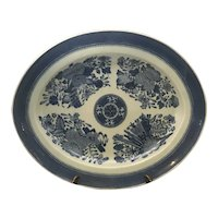 Antique Chinese Export Fitzhugh Blue & White Oval Platter c. 1800s FREE SHIPPING!