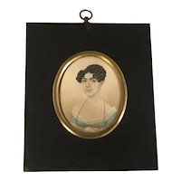 Miniature Portrait Painting of Unknown Lady attributed to William Verstille (1757-1803) Watercolor and Gouache on paper in Period Frame FREE SHIPPING!