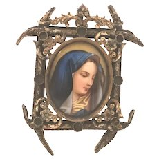 19th C. Miniature Porcelain Portrait Painting of Madonna in Ormolu Frame FREE SHIPPING!