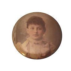 Antique Celluloid Columbia Medallion Studios Sepia Photo Button Lady Portrait Chicago c. 1910s