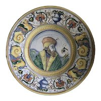 "Tin Glazed Earthenware Majolica Wall Plate ""Monteluce"" Perugia, Italy c. 1920s FREE SHIPPING!"
