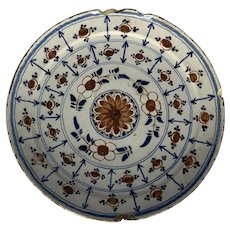 18th C. Bristol Delft Polychrome Delftware Tin Glazed Pottery Plate England c. 1740 FREE SHIPPING!