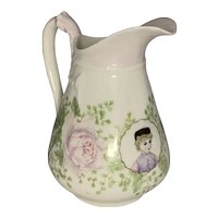 Haviland & Co Limoges Hand Painted Portrait Pitcher c. 1876-1889 FREE SHIPPING!