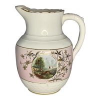19th C. Sampson Bridgwood & Son Porcelain Opaque Hand Painted Maritime Pitcher Aesthetic Movement, England c.1880 FREE SHIPPING!