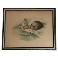 Original Bessie Pease Gutmann titled Awakening Lithograph under glass in Period Frame FREE SHIPPING!