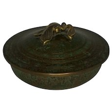 Carl Sorensen Verdigris Bronze Covered Bowl with Blossom Finial FREE SHIPPING!