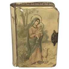 "Celluloid Mary & Baby Jesus with Lamb ""Key of Heaven"" Pocket Prayer Book for Catholics New York c. 1921 FREE SHIPPING!"