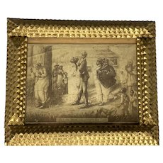 """Black Americana Tramp Art Framed Lithograph Under Glass """"Return from the Honeymoon Tour"""" FREE SHIPPING!"""