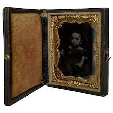 Tintype Little Girl in Leather Case c. 1860-1870 FREE SHIPPING!