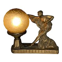 Art Deco Nude Lamp No. 183 with Glass Brain Shade c. 1920s FREE SHIPPING!