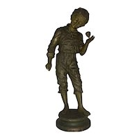 After Charles Anfrie (French, 1833-1905) La Toupie Bronzed Spelter Statue of Boy with Toy Top Early 20th Century
