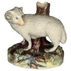 19th Century Staffordshire Ram Sheep Spill Vase c. 1840-1870 FREE SHIPPING!