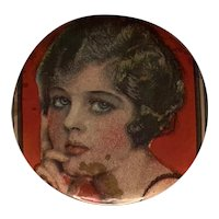 Art Deco Flapper Celluloid Pocket Mirror FREE SHIPPING!