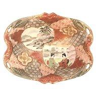 Kyoto Satsuma Style Moriage Footed Bowl Marked Japanese Meiji Period c.1868-1912