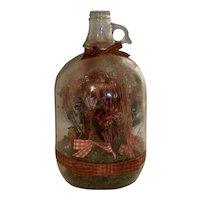 Folk Art Scene In Bottle One Gallon Jug Floral Bird Display FREE SHIPPING!