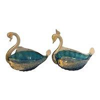 Salviati & Co. Venetian Blown Murano Art Glass Gold Fleck Swan Salt Cellar / Salt Dip Pair early 20th C. Italy