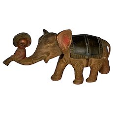 Celluloid Toy Elephant Nodder with Little Black Sambo Rider Pre-War Japan c. 1930s Rare. FREE  SHIPPING!