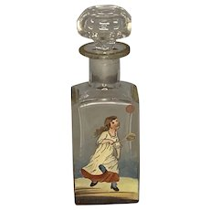 Bohemian Perfume Bottle with Hand Painted Enamel Tennis Sporting Scene & Cut Crystal Glass Stopper  c. 1890 - 1910 FREE SHIPPING!