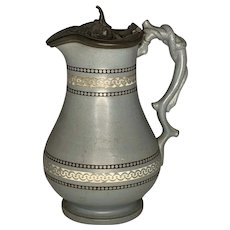 James Dudson Pottery Stourbridge Mosaic Jug with Serpentine Branch Handle & Spurrier Pewter Weighted Lid c. 1850s England