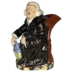 Antique Staffordshire Night Watchman George Whitfield Character Jug c. 1810 - 1830 FREE SHIPPING!