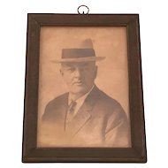 Vintage Black & White CDV Framed Portrait Photograph Under Glass of Gentleman Wearing Suit and Fedora