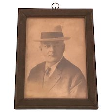 Vintage Black & White CDV Framed Portrait Photograph Under Glass of Gentleman Wearing Suit and Fedora