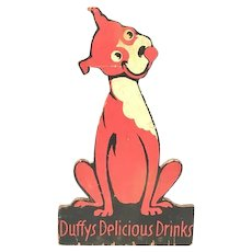 Duffy's Delicious Drinks Wood Countertop Advertisement Sign c. 1929-1968 Denver, Colorado Rare. FREE SHIPPING!