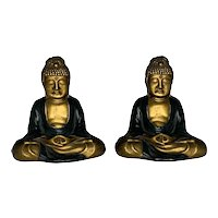 Ronson Art Metal Works Buddha Sgraffito Bookends c. 1920s Rare. FREE SHIPPING!