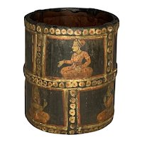 Antique Indo-Persian Mughal Hand Painted Wood Container 19th Century FREE SHIPPING!
