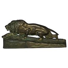 Bronze Lion Paperweight Advertisement for Walrath & Sherwood Lumber Co. Early 20th Century Omaha, Nebraska