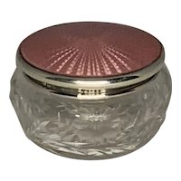 Pink Guilloche Enamel Sterling Silver Cut Crystal Vanity Jar or Dresser Box FREE SHIPPING!