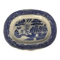 Antique Blue Willow Transfer Platter England 19th Century FREE SHIPPING!