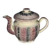 19th Century Rainbow Spatterware Staffordshire Teapot FREE SHIPPING!