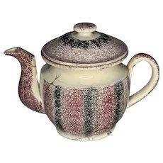 19th Century Rainbow Spatterware Staffordshire Teapot FREE SHIPPING!