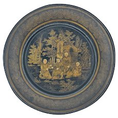 Antique Chinese Lacquered Paper Mache Hand Painted Plate Canton, c.1900 FREE SHIPPING!