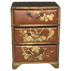Vintage Japanese Lacquered Tansu Miniature Chest of Drawers Jewelry Box FREE SHIPPING!