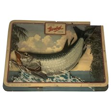 "Goebel Beer Fishing Advertisement Cardboard Cut Out ""Tarpon"" Sign c. 1954"